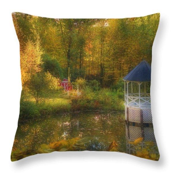 Autumn Gazebo Throw Pillow by Joann Vitali