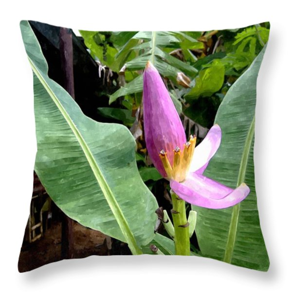 Banana Flower Throw Pillow by Lanjee Chee