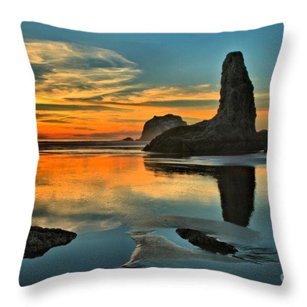 Bandon Beach Sunset Throw Pillow by Adam Jewell
