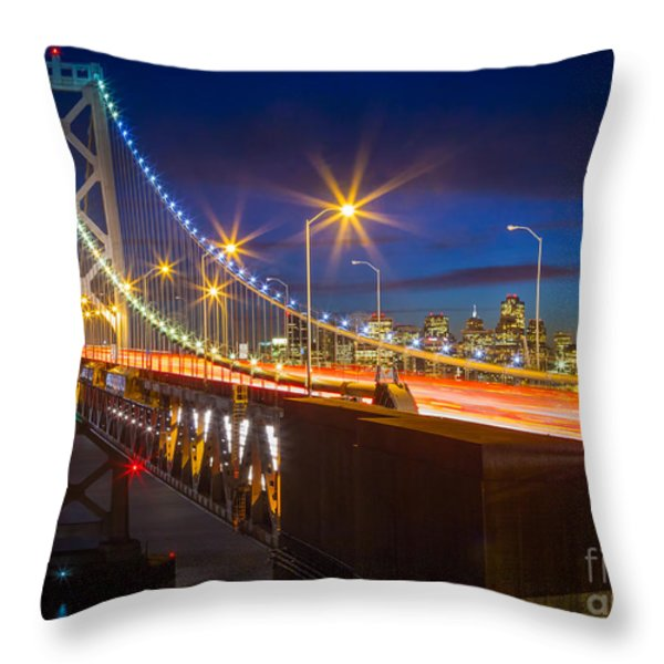 Bay Bridge Throw Pillow by Inge Johnsson