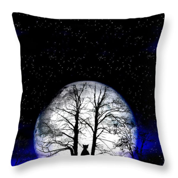 Black Cat On Tree Throw Pillow by Nina Ficur Feenan