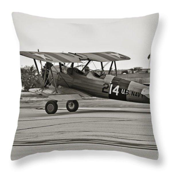Boeing N2s-4 Stearman Kaydet Throw Pillow by Charles Dobbs