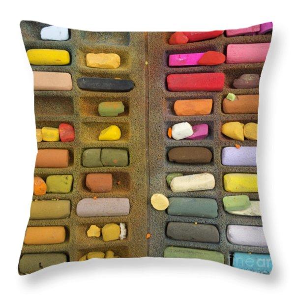 Box Of Pastels Throw Pillow by Bernard Jaubert