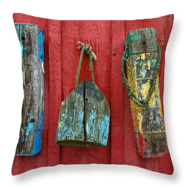 Buoys at Rockport Motif Number One Lobster Shack Maritime Throw Pillow by Jon Holiday