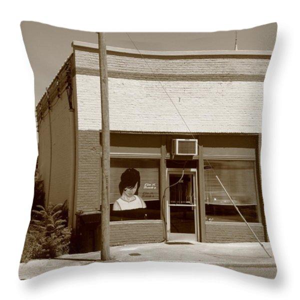 Burlington North Carolina - Small Town Business Throw Pillow by Frank Romeo