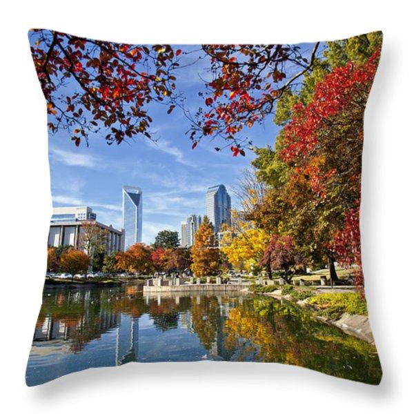 Charlotte North Carolina Marshall Park Throw Pillow by Jill Lang