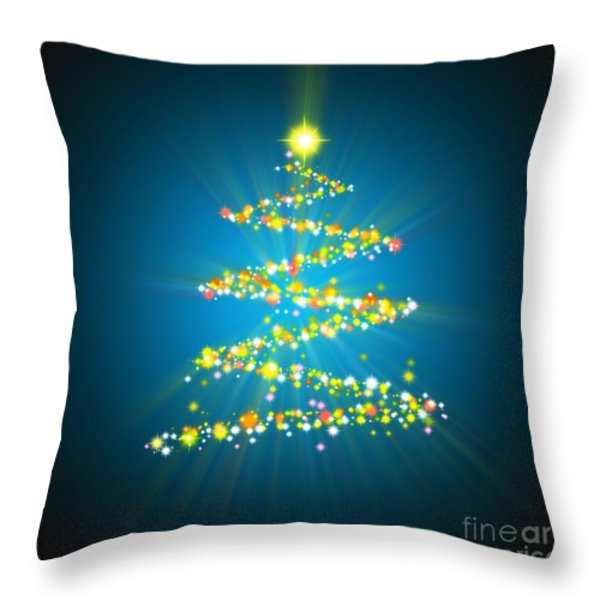 Christmas Tree Throw Pillow by Atiketta Sangasaeng
