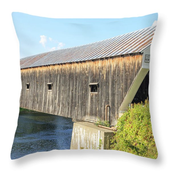 Cornish-Windsor Covered Bridge  Throw Pillow by Edward Fielding