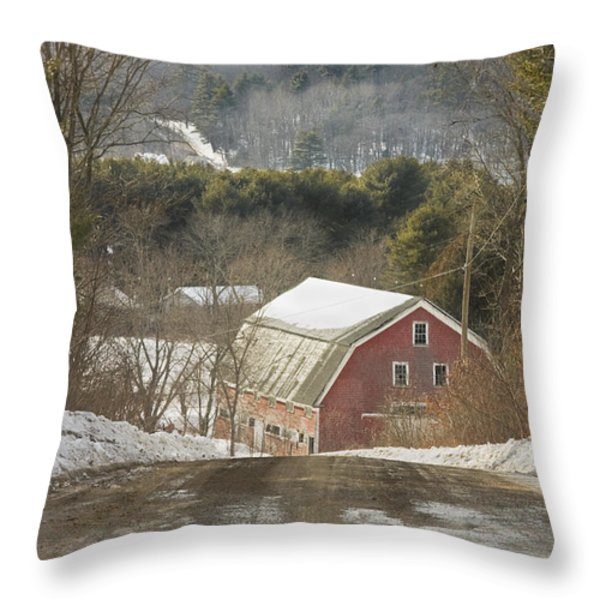 Country Road And Barn In Winter Maine Throw Pillow by Keith Webber Jr