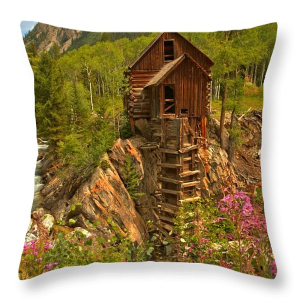 Crystal Mill Wildflowers Throw Pillow by Adam Jewell