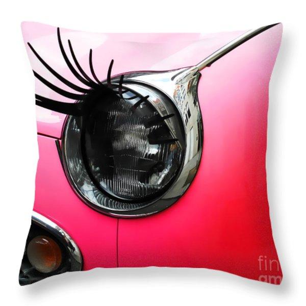 Cute Pink Car Throw Pillow by Jasna Buncic