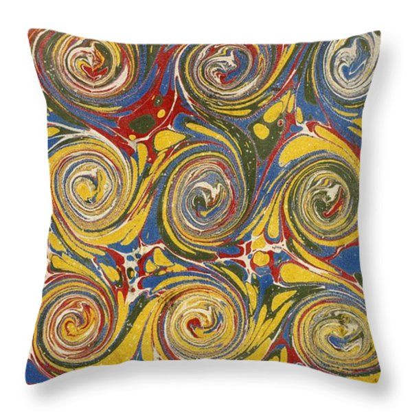 Decorative End Paper Throw Pillow by English School