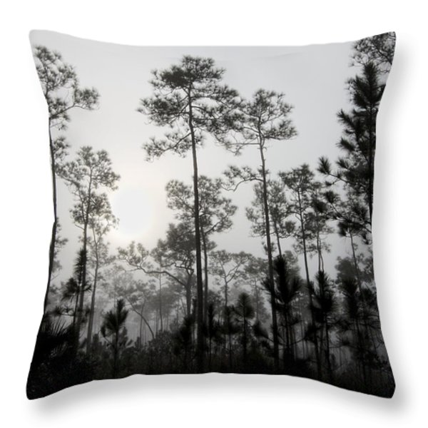 Early Morning Fog Landscape Throw Pillow by Rudy Umans