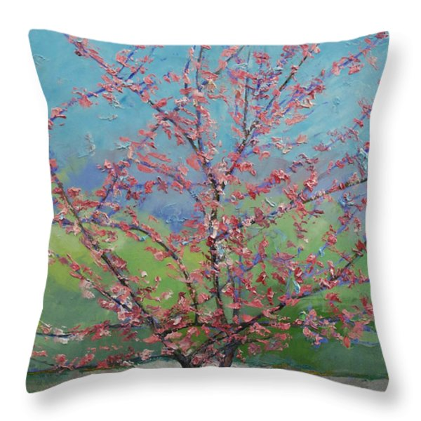 Eastern Redbud Tree Throw Pillow by Michael Creese