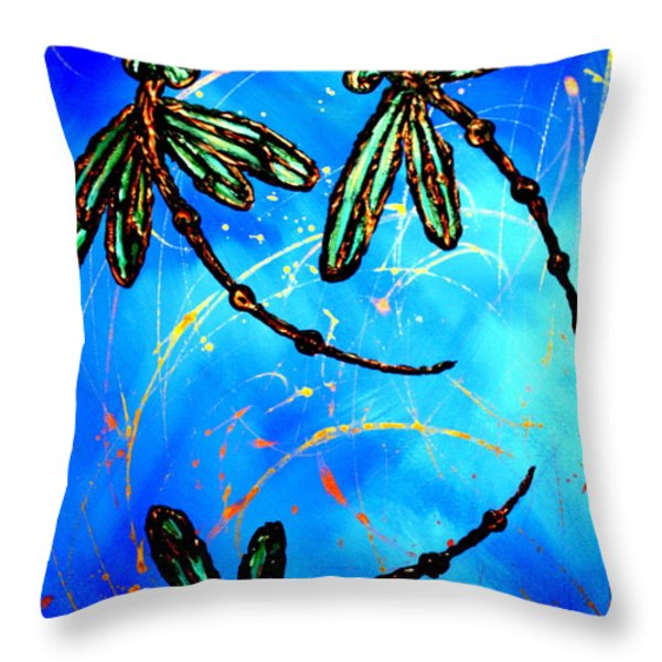 Electric Blue Dragonfly Flit Throw Pillow by Lyndsey Hatchwell