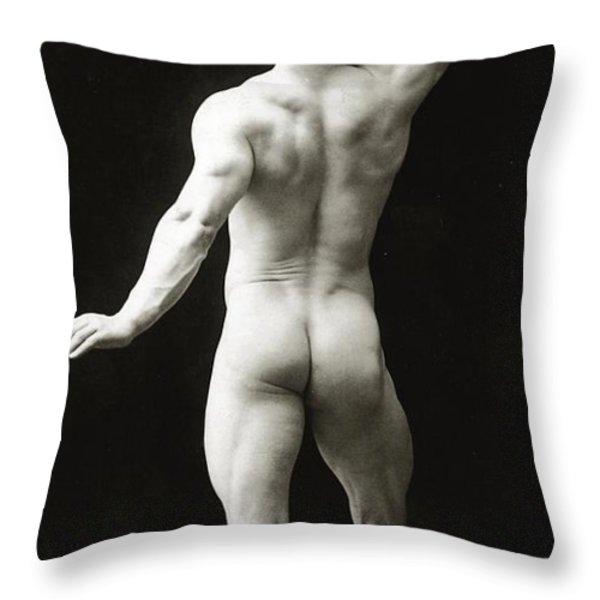 Eugen Sandow In Classical Ancient Greco Roman Pose Throw Pillow by American Photographer