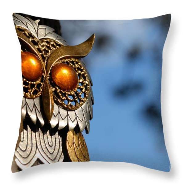 Faux Owl with Golden Eyes Throw Pillow by Amy Cicconi