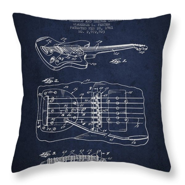 Fender Floating Tremolo patent Drawing from 1961 - Navy Blue Throw Pillow by Aged Pixel