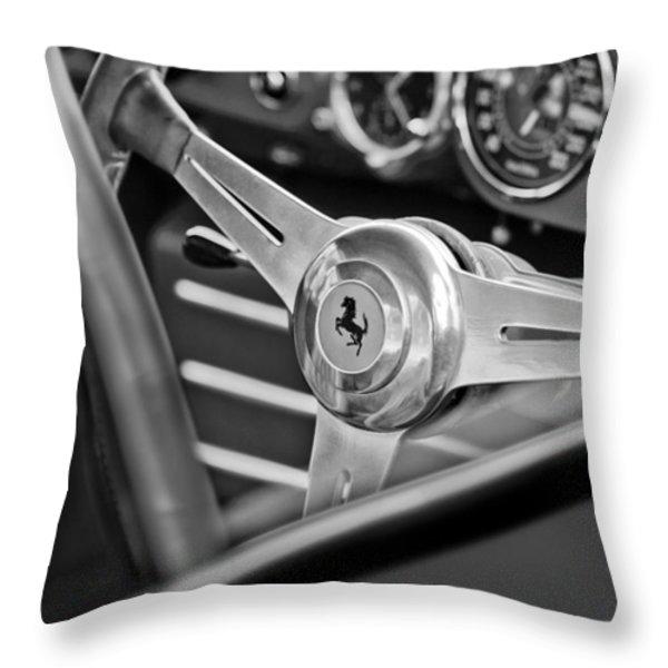 Ferrari Steering Wheel Throw Pillow by Jill Reger