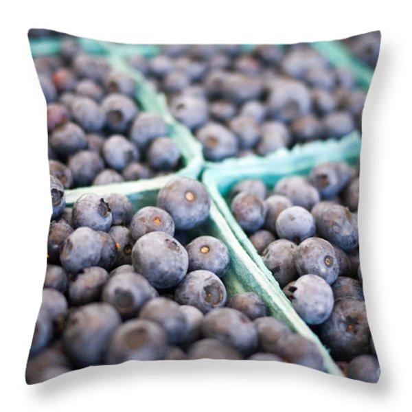 Fresh Blueberries Throw Pillow by Edward Fielding