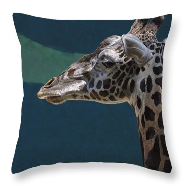 Giraffe Throw Pillow by Aaron Blaise