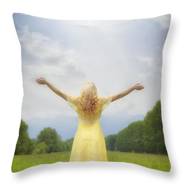 girl on meadow Throw Pillow by Joana Kruse