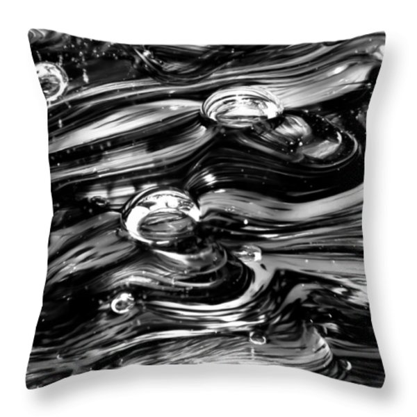 Glass Macro - Black And White Throw Pillow by David Patterson