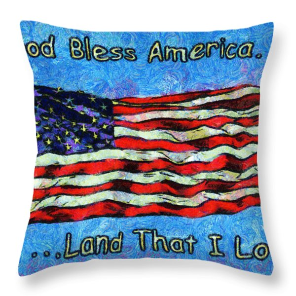 God Bless America  Throw Pillow by Barbara Snyder