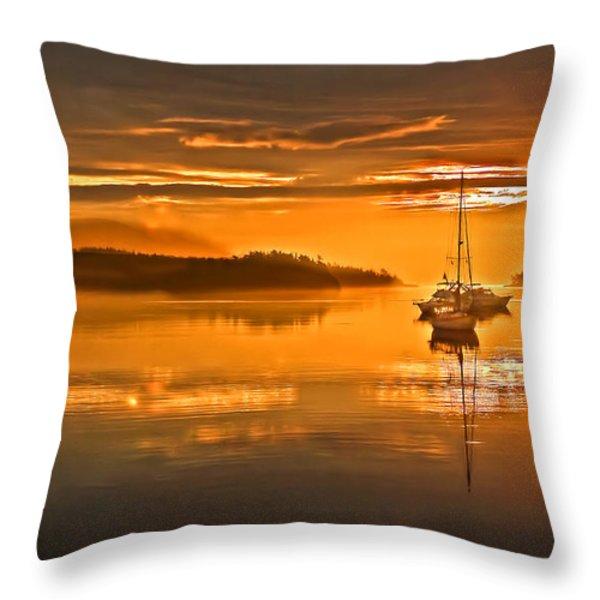 Golden  Sunrise Throw Pillow by Robert Bales