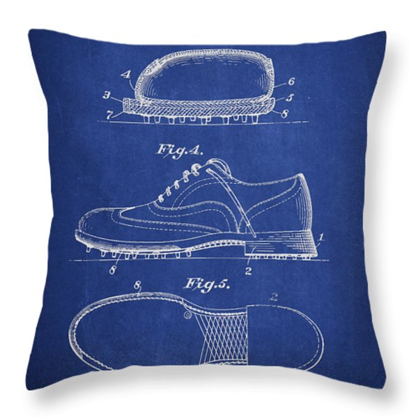 Golf Shoe Patent Drawing From 1931 Throw Pillow by Aged Pixel