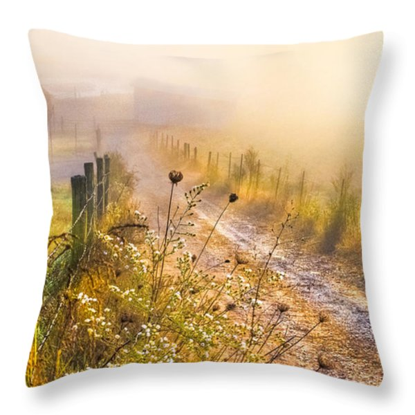 Good Morning Farm Throw Pillow by Debra and Dave Vanderlaan