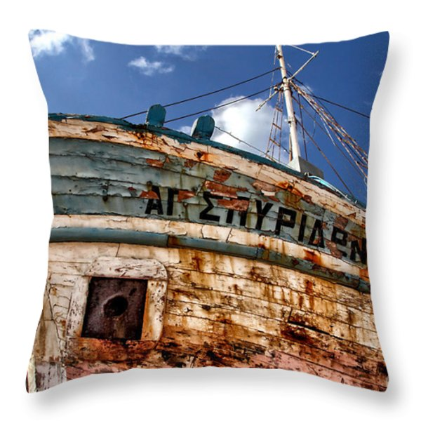 greek fishing boat Throw Pillow by Stylianos Kleanthous