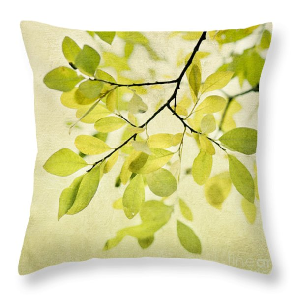 Green Foliage Series Throw Pillow by Priska Wettstein