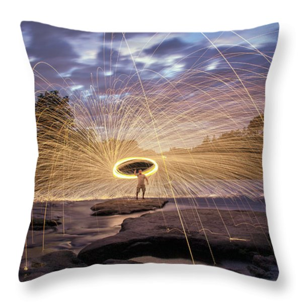 Halo On The American River Throw Pillow by Lee Harland
