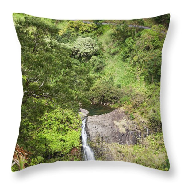 Hana Waterfall Throw Pillow by Jenna Szerlag