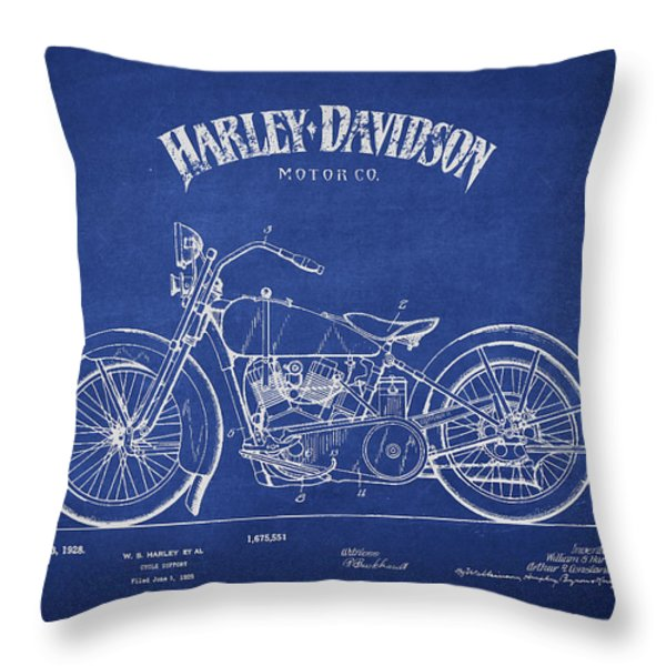 Harley Davidson Motorcycle Cycle Support Patent Drawing From 192 Throw Pillow by Aged Pixel