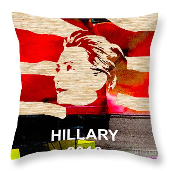 Hillary Clinton 2016 Throw Pillow by Marvin Blaine