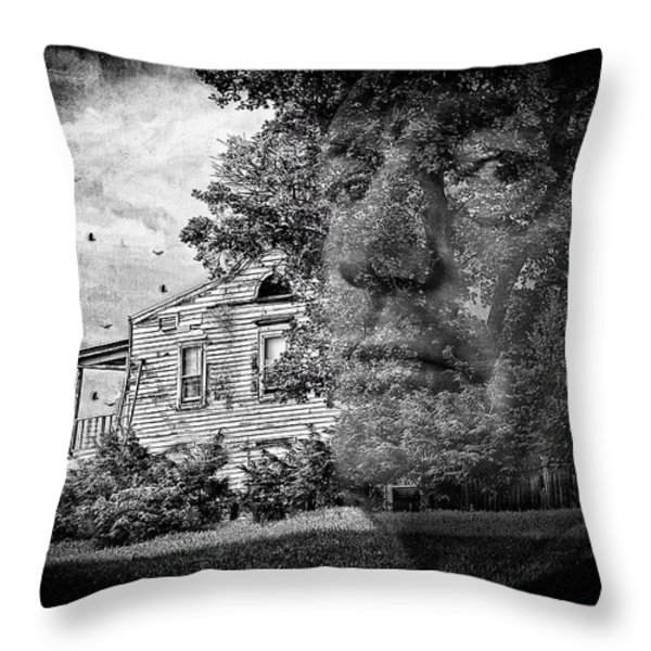 House On Haunted Hill Throw Pillow by Madeline Ellis