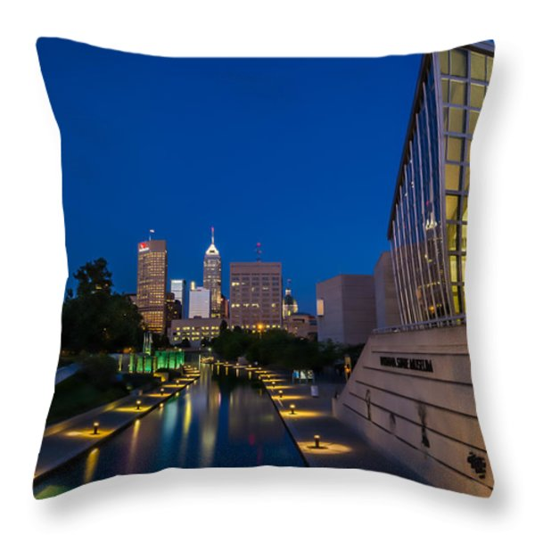 Indianapolis Skyline From The Canal At Night Throw Pillow by Ron Pate