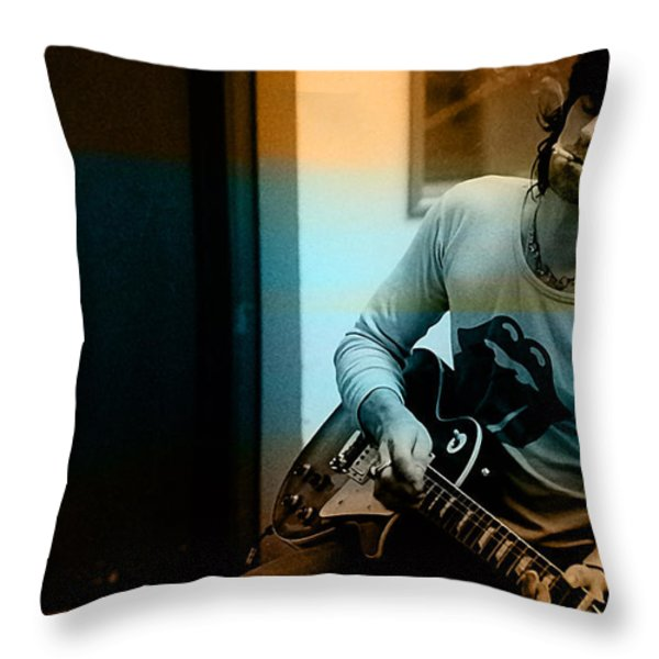 Keith Richards Throw Pillow by Marvin Blaine