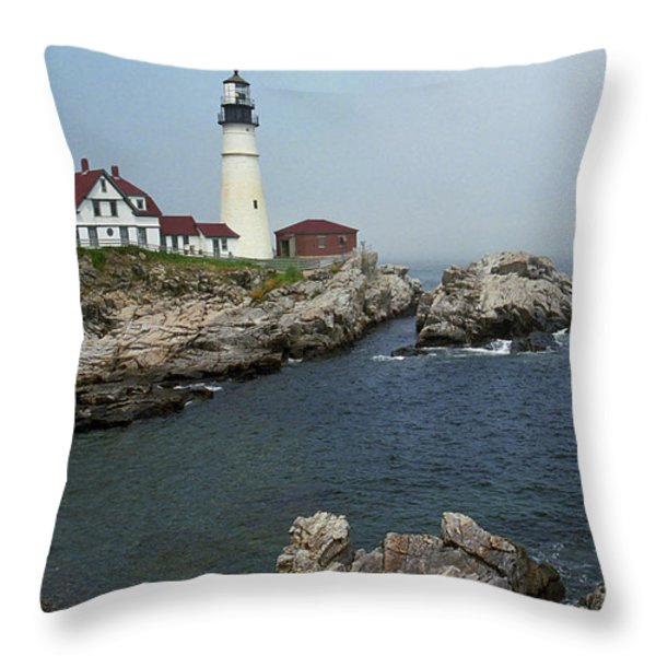 Lighthouse - Portland Head Maine Throw Pillow by Frank Romeo