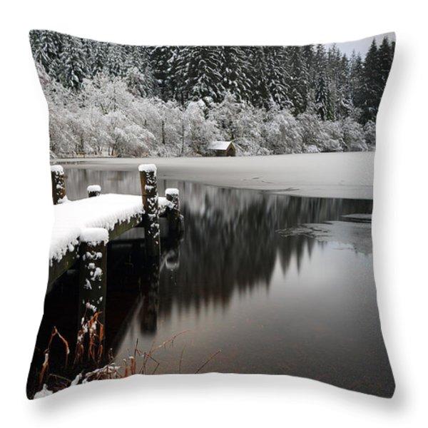 Loch Ard Winter Scene Throw Pillow by Grant Glendinning