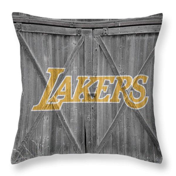 LOS ANGELES LAKERS Throw Pillow by Joe Hamilton