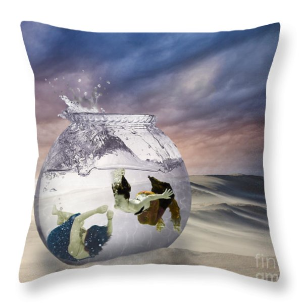 2 Lost Souls Living In A Fishbowl Throw Pillow by Linda Lees