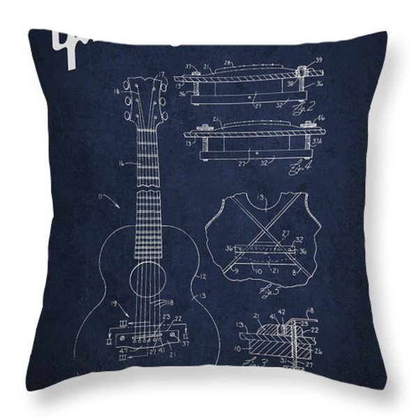 Mccarty Gibson stringed instrument patent Drawing from 1969 - Navy Blue Throw Pillow by Aged Pixel