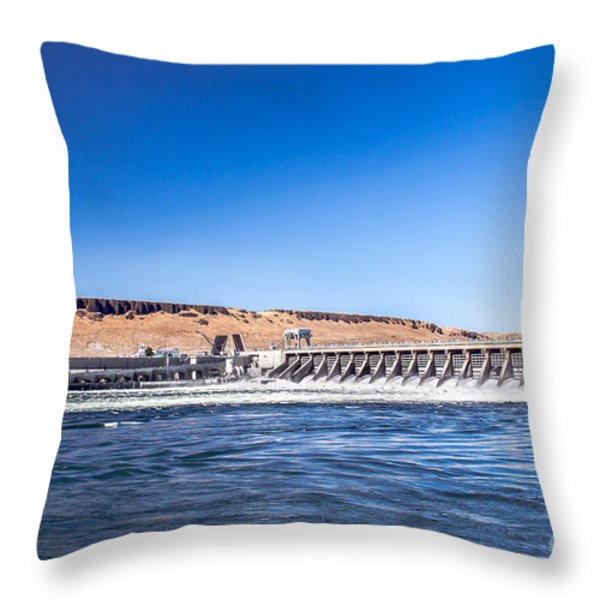 Mcnary Dam Throw Pillow by Robert Bales