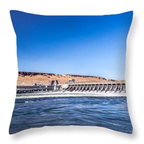 McNary Dam Throw Pillow by Robert Bales