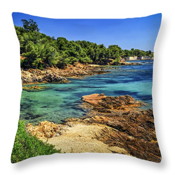 Mediterranean Coast Of French Riviera Throw Pillow by Elena Elisseeva