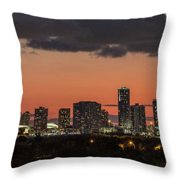 Miami Sunset Skyline Throw Pillow by Rene Triay Photography
