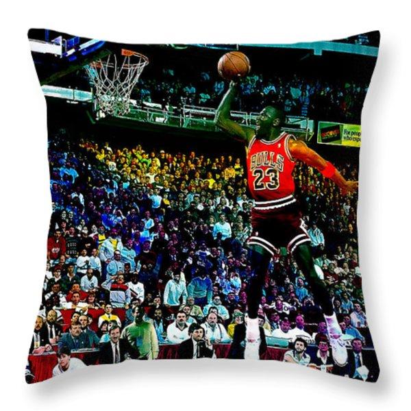 Michael Jordon Throw Pillow by Marvin Blaine